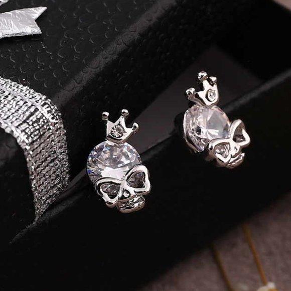 3/$30 Mini Skeleton Rhinestone Earrings Studs